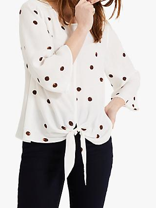 Phase Eight Daniella Metallic Spot Print Blouse, Ivory/Camel