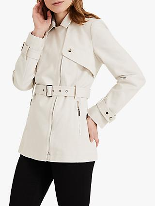 Phase Eight Soft Short Biker Coat, White