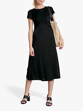 hush Twist Front Dress, Black
