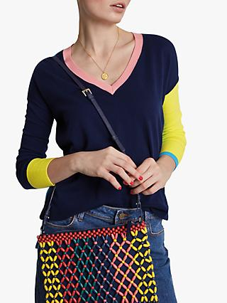 hush Colour Block Jumper, Navy/Multi