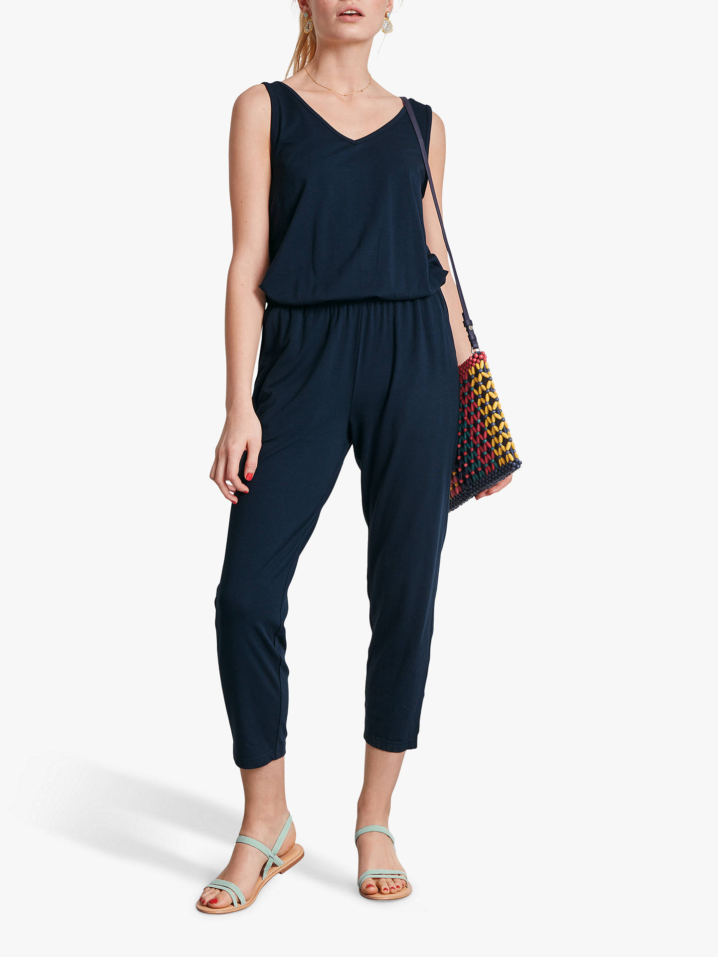 Buy hush Cropped Jersey Jumpsuit, Midnight, XL Online at johnlewis.com