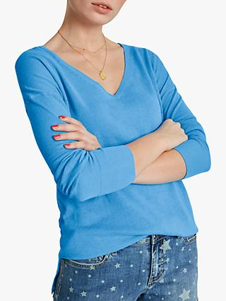 hush Linen V-Neck Jumper, Blue