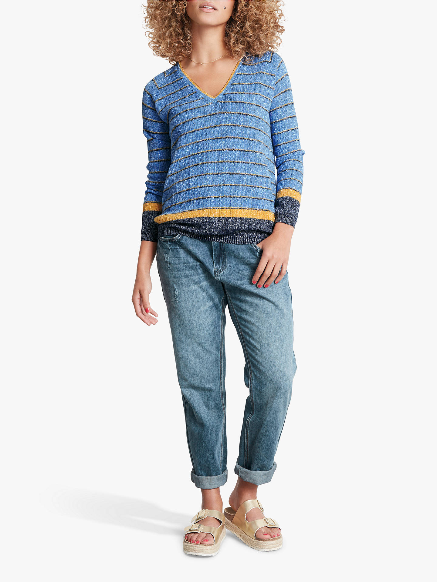 Buy hush Corinna Stripe Jumper, Pale Blue/Marigold, L Online at johnlewis.com