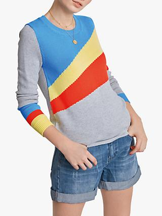 hush Heana Stripe Jumper, Grey Marl/Multi