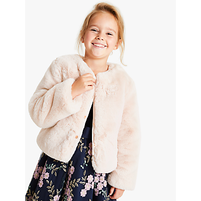 John Lewis & Partners Heirloom Collection Girls' Faux Fur Coat, Cream