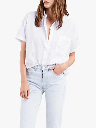 Levi's Maxine Applique Flower Short Sleeve Shirt, Mccool Bright White