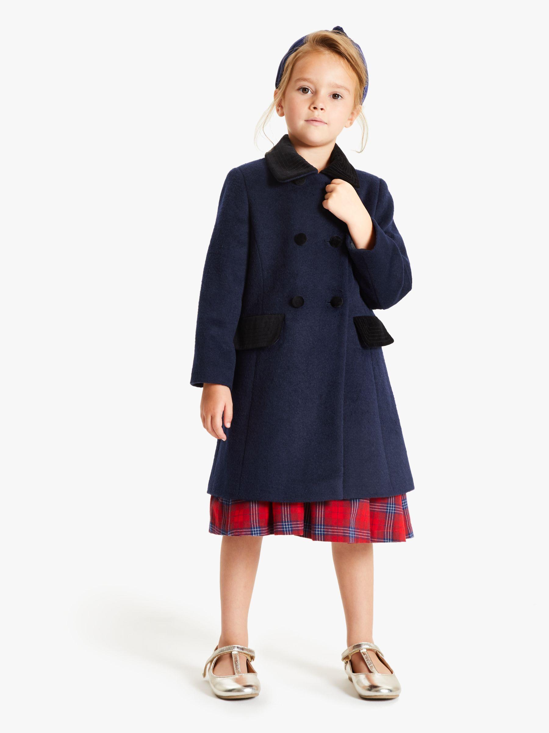 John Lewis Girls' Velvet Collar Coat, Navy at John Lewis