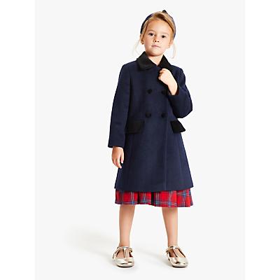 John Lewis & Partners Heirloom Collection Girls' Velvet Collar Coat, Navy