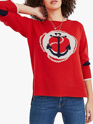 Oasis Cordelia Anchor Print Jumper, Red/Blue