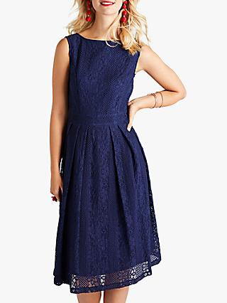 Yumi Lace Pleated Dress, Navy