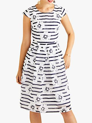 Yumi Stripe Floral Dress, Navy
