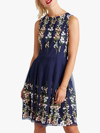 Yumi Embroidered Floral Mesh Dress, Navy