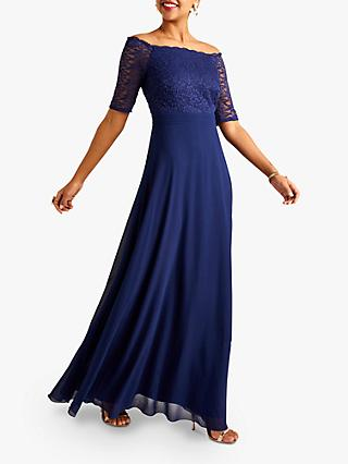 Yumi Bardot Maxi Dress, Navy