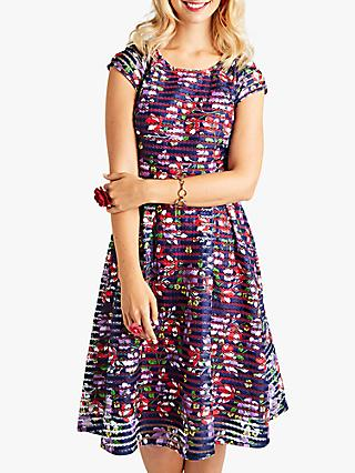 Yumi Spanish Floral Cap Sleeve Flared Dress, Dark Navy