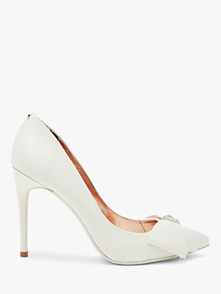 Ted Baker Asellys Stiletto Heel Bow Detail Court Shoes, Ivory