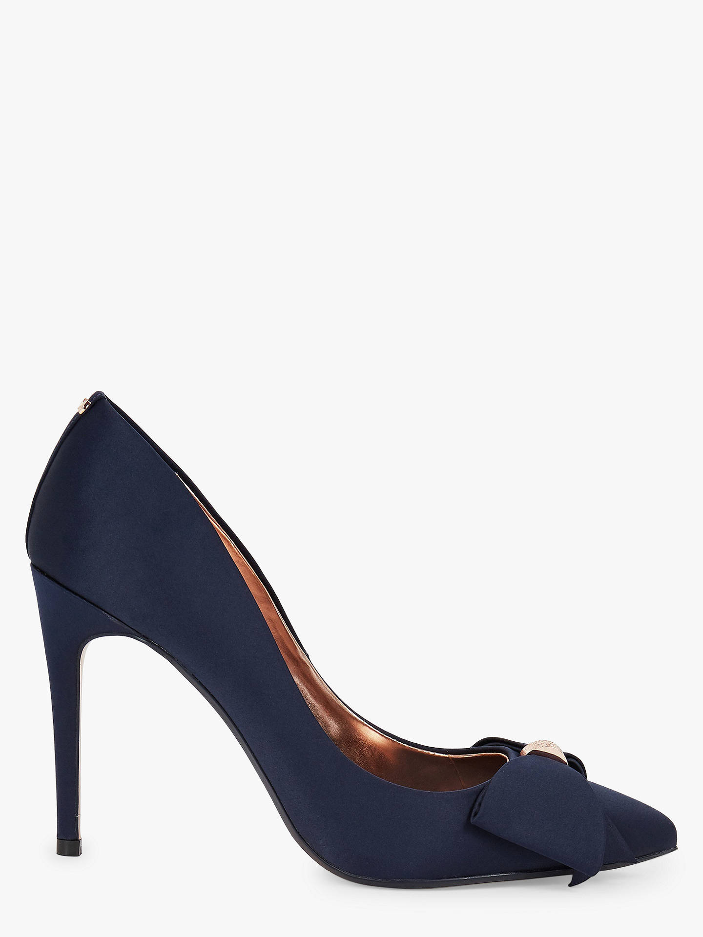 939ffd1aeb6 Buy Ted Baker Asellys Stiletto Heel Bow Court Shoes, Navy, 3 Online at  johnlewis ...