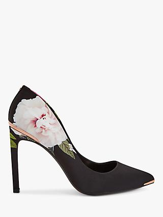 Ted Baker Melnip Floral Stiletto Heel Court Shoes, Black/Multi
