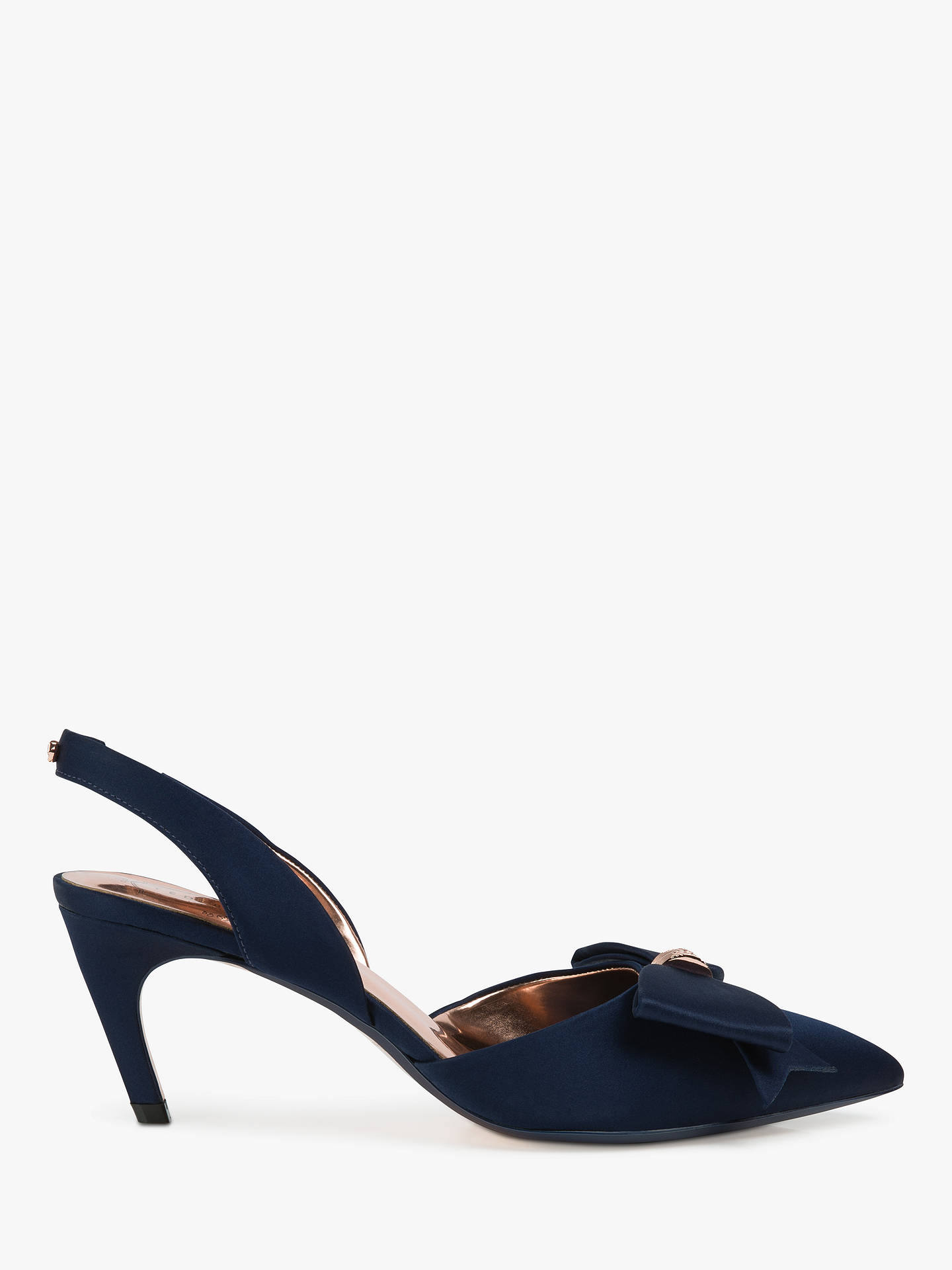 Buy Ted Baker Aidelas Bow Sling Back Court Shoes, Navy, 3 Online at johnlewis.com