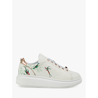 Image of Ted Baker Ailbe 4 Low Top Trainers, White Leather