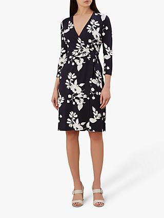 Hobbs Delilah Floral Wrap Dress, Navy Multi