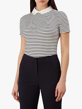 Hobbs Rae Stripe Collar Neck Top, Navy/Ivory