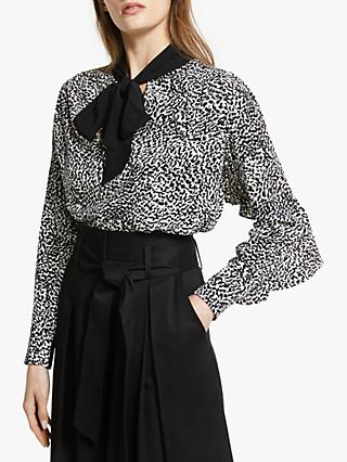 Somerset by Alice Temperley Micro Leopard Print Tie Neck Blouse, Shell