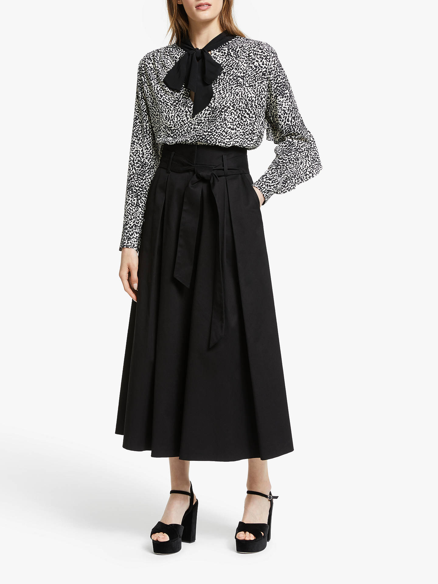 Buy Somerset by Alice Temperley Micro Leopard Print Tie Neck Blouse, Shell, 12 Online at johnlewis.com