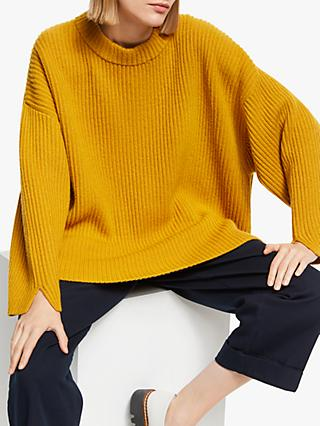 Kin Split Sleeve Textured Jumper, Yellow