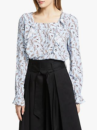 Somerset by Alice Temperley Bird Print Ruffle Top, Blue