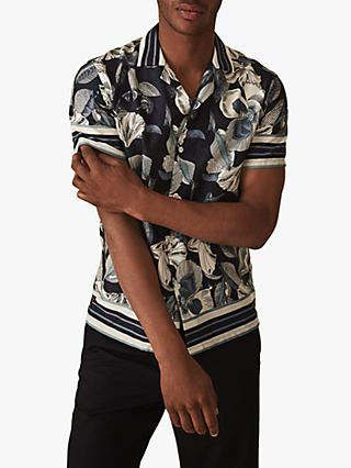 c93b4888a52 Reiss Pusha Botanical Print Cuban Collar Shirt