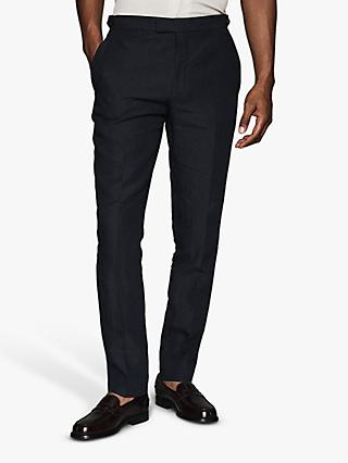 Reiss Jolt Linen Slim Fit Suit Trousers, Navy