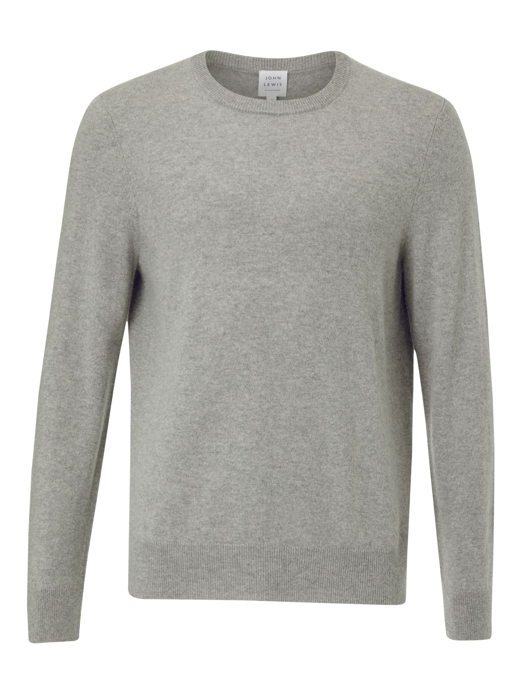Buy John Lewis & Partners Cashmere Crew Neck Jumper, Grey Melange, S Online at johnlewis.com