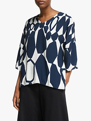 Kin Hanedo V-Neck Top, Blue/White
