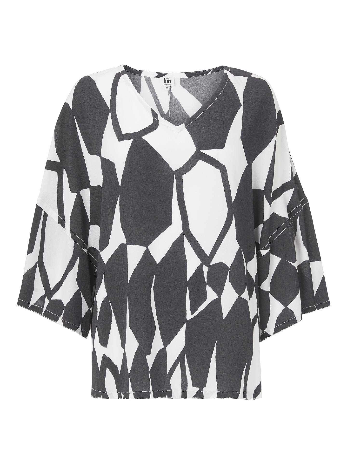 Buy Kin Hanedo V-Neck Top, Blue/White, 16 Online at johnlewis.com