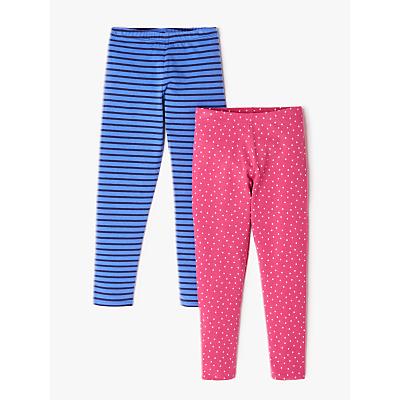 John Lewis & Partners Girls' Spots and Stripes Leggings, Blue/Pink