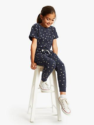 John Lewis & Partners Girls' Spot Print Jumpsuit, Navy