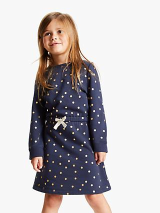 John Lewis & Partners Girls' Spot Sweater Dress, Navy