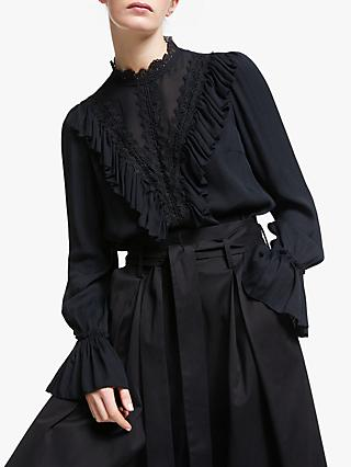 Somerset by Alice Temperley Lace and Ruffle Detail Blouse, Black