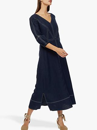 Brora Linen Contrast Stitch Dress, Navy