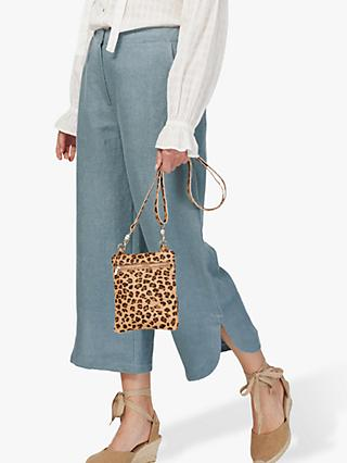 Brora Textured Linen Cropped Trousers, Storm