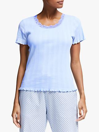 John Lewis & Partners Freya Lace Trim Pyjama Top, Soft Blue