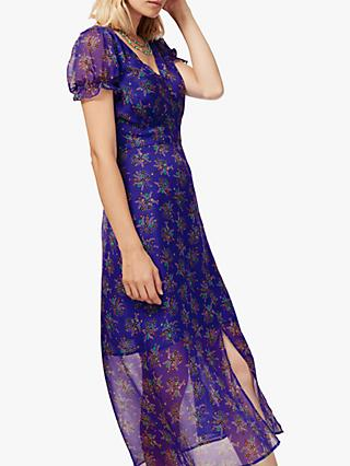 Brora Floral Silk Chiffon Dress, Violet and Spearmint