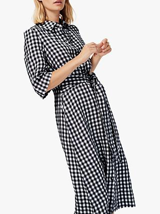 Brora Gingham Check Linen Shirt Dress, Monochrome