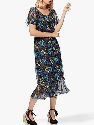 Brora Liberty Print Silk-Chiffon Dress, Midnight Leaf