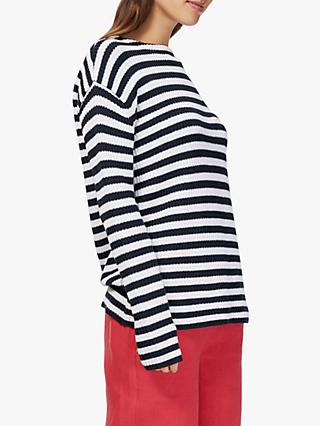 Brora Striped Cotton Jumper, Navy/White
