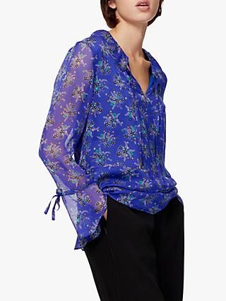 Brora Floral Silk Chiffon Blouse, Violet and Spearmint