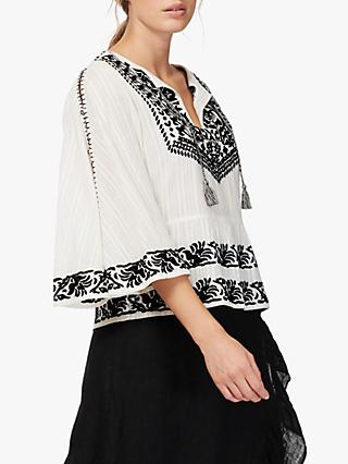Brora Embroidered Angel Blouse, Monochrome