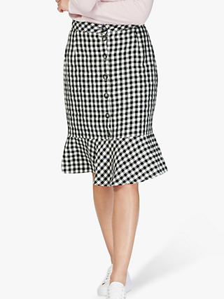 Brora Gingham Check Linen Skirt, Monochrome