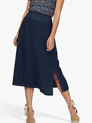 Brora Top Stitch Linen Skirt, Navy
