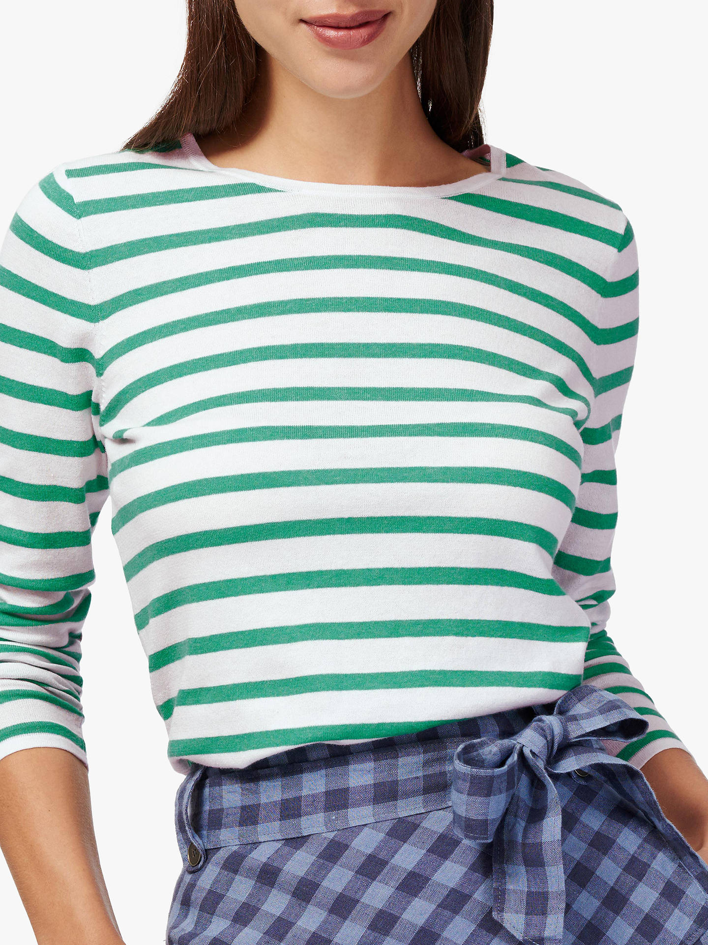 Buy Brora Cotton Blend Striped T-Shirt, White/Spearmint, 10 Online at johnlewis.com
